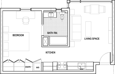 One Bed Floor Plan