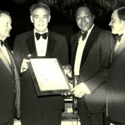 Southwestern President Paul Wildman, Mayor Bradley and Dean Leigh H. Taylor present LA City Councilman John Ferraro with the Disitinguished Citizen Award during the 1979 Tom Bradley Scholarship Fund Dinner.