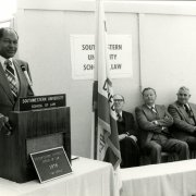 Mayor Tom Bradley presides over the Southwestern Time Capsule ceremony in 1978.
