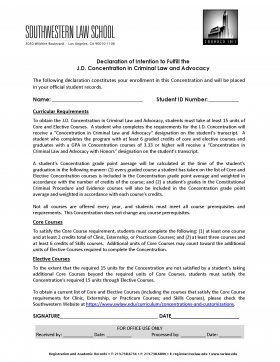 Image - Declaration of Intention Form for J.D. Concentration in Criminal Law and Advocacy