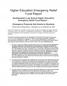 Image - Higher Education Emergency Relief Fund Report