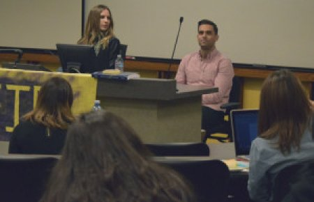 Alumni Jessie Winkler and Brandon Intelligator speak to Southwestern students