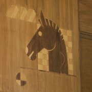 Inlaid wood polo pony in the former Saddle Shop