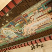 Spirit of Transportation mural on ceiling of Porte Cochere