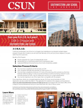 CSUN 3+3 B.A./J.D. Flyer for CSUN Students